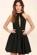 Smile Sweetly Black Skater Dress 1