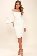 All She Wants White Off-the-Shoulder Midi Dress 2