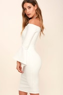 All She Wants White Off-the-Shoulder Midi Dress 3