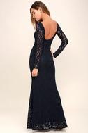 Sentimental Moment Navy Blue Lace Maxi Dress 3