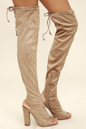 Alessandra Taupe Suede Peep-Toe Over the Knee Boots 3