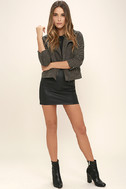 Catch You on the Flip Side Charcoal Grey Suede Moto Jacket 2