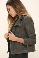 Catch You on the Flip Side Charcoal Grey Suede Moto Jacket 3