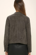 Catch You on the Flip Side Charcoal Grey Suede Moto Jacket 4