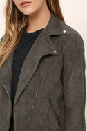 Catch You on the Flip Side Charcoal Grey Suede Moto Jacket 5