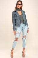 Catch You on the Flip Side Slate Blue Suede Moto Jacket 2