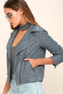Catch You on the Flip Side Slate Blue Suede Moto Jacket 3