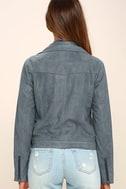 Catch You on the Flip Side Slate Blue Suede Moto Jacket 4