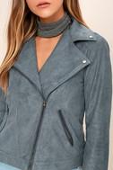 Catch You on the Flip Side Slate Blue Suede Moto Jacket 5