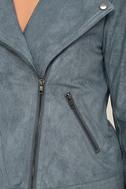 Catch You on the Flip Side Slate Blue Suede Moto Jacket 6