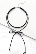 Everyday is a Winding Road Black Suede Layered Choker Necklace 2