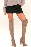 Steve Madden Emotions Taupe Suede Over the Knee Boots 1