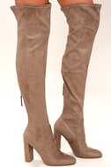 Steve Madden Emotions Taupe Suede Over the Knee Boots 3