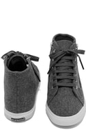 Superga 2224 POLYWOOLW Grey High-Top Sneakers 3