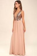Elegant Encounter Rose Gold Sequin Maxi Dress 2