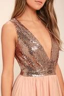 Elegant Encounter Rose Gold Sequin Maxi Dress 5