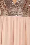 Elegant Encounter Rose Gold Sequin Maxi Dress 6