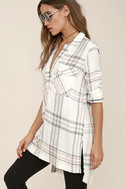 Chic Thrills Ivory Plaid Tunic Top 3