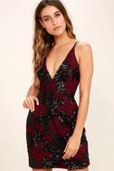 Dress the Population Jordyn Burgundy Lace Sequin Dress 1