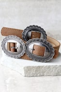Missoula Silver and Tan Double Buckle Belt 3