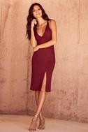 Gathering Glances Burgundy Bodycon Dress 2