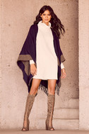 Precipice Palace Taupe and Navy Blue Poncho 2