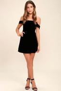 My Kind of Romance Black Velvet Off-the-Shoulder Dress 2