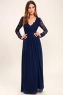 Awaken My Love Navy Blue Long Sleeve Lace Maxi Dress 3