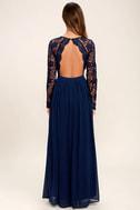 Awaken My Love Navy Blue Long Sleeve Lace Maxi Dress 4