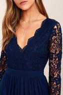 Awaken My Love Navy Blue Long Sleeve Lace Maxi Dress 5