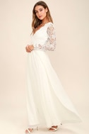 Awaken My Love White Long Sleeve Lace Maxi Dress 2