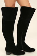 Dolly Black Suede Over the Knee Boots 3