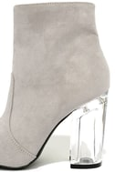 Illuminate Light Grey Suede Lucite Ankle Booties 7