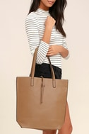Living for the Weekend Beige and Brown Reversible Tote 1