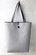 Living for the Weekend Light Grey and Charcoal Reversible Tote 3