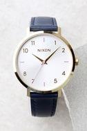 Nixon Arrow Grey and Navy Leather Watch 1