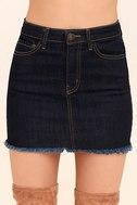 Pop and Lock Dark Wash Denim Mini Skirt 4