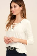 Love Song Ivory Long Sleeve Lace-Up Top 3