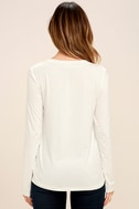 Love Song Ivory Long Sleeve Lace-Up Top 4