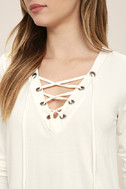 Love Song Ivory Long Sleeve Lace-Up Top 5