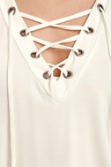 Love Song Ivory Long Sleeve Lace-Up Top 6