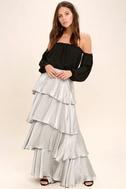 Celebrate the Occasion Silver Satin Maxi Skirt 2