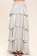 Celebrate the Occasion Silver Satin Maxi Skirt 3