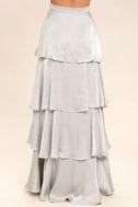 Celebrate the Occasion Silver Satin Maxi Skirt 4