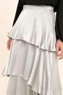 Celebrate the Occasion Silver Satin Maxi Skirt 5