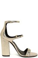 Steve Madden Parrson Gold Ankle Strap Heels 4