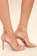 Aimee Dusty Rose Suede Lace-Up Heels 1