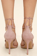 Aimee Dusty Rose Suede Lace-Up Heels 3