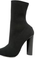 Steve Madden Capitol Black Knit Mid-Calf High Heel Boots 6