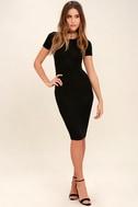 Like Minded Black Bodycon Midi Dress 2